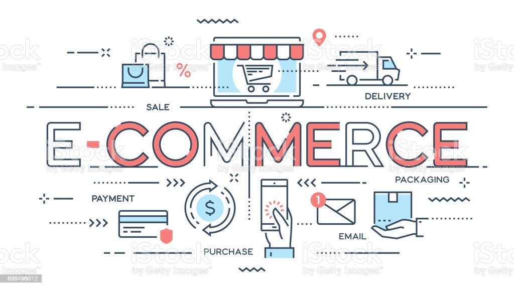 E-Commerce, Online-shopping, Einzelhandel, Verkauf, Lieferung Servicekonzept dünne Linie. – Vektorgrafik