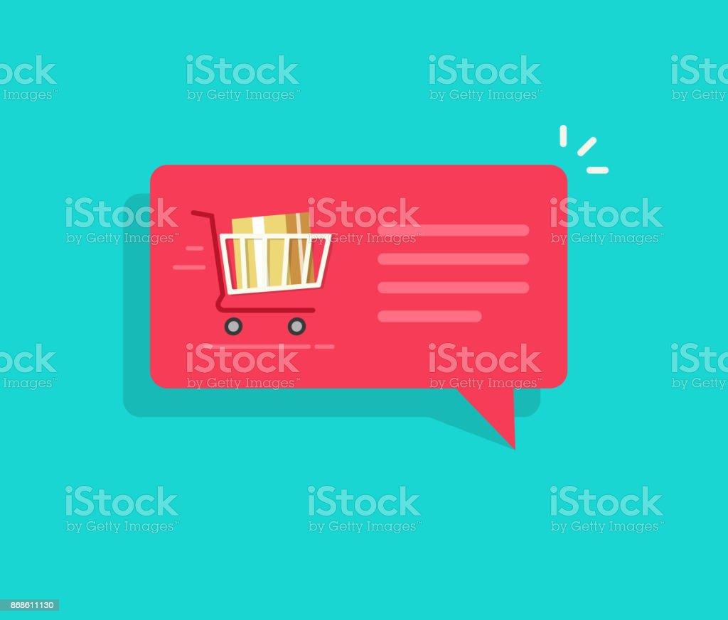 Illustration vectorielle d'ecommerce ordre notification message, discours plat bulle avec panier d'achat complet et texte, notion de message de livraison en ligne, de vente ou d'achat sur l'icône de message push internet - Illustration vectorielle