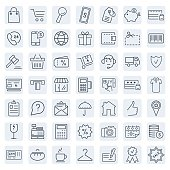 E-commerce. Outline web icons set.Vector symbols. Vector illustration
