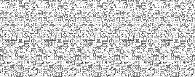 E-Commerce Seamless Pattern and Background with Line Icons