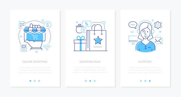 E-Commerce-Satz von Linie Design Stil vertikale Webbanner – Vektorgrafik