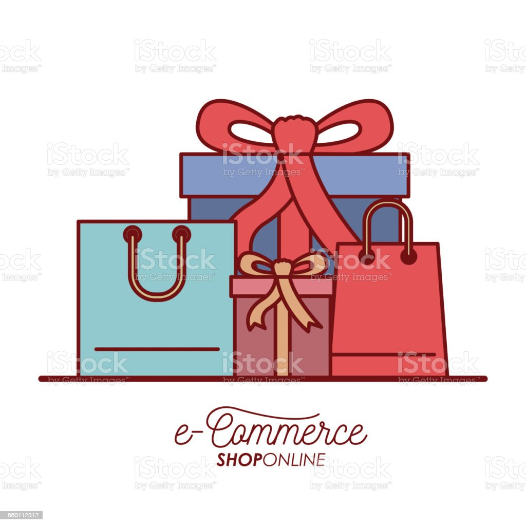 e-commerce shop online set gift and shopping bag on white background royalty -free 56b1ddd8440ca