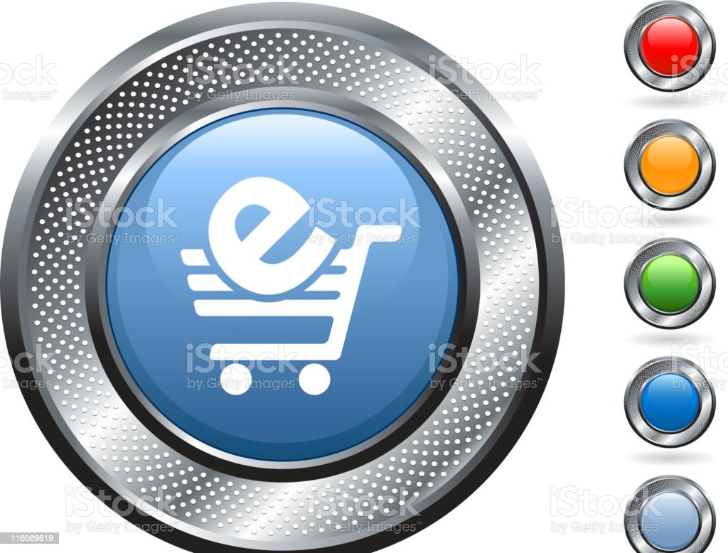 e-commerce, Shopping cart royalty free vector art on metallic button royalty-free stock vector art