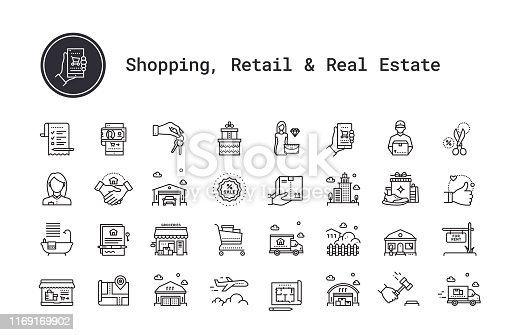 E-commerce, shopping and retail business thin line icons. Real estate, city and residential homes signs. Modern linear logo concept for web, mobile application. Online shop, delivery service, sales, cash back, wish list symbols. House building, commercial property, floor plan, moving service, city map, realty business pictogram. Outline vector set.