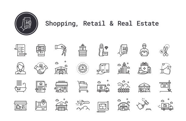 E-commerce, shopping, retail business, real estate, moving, buying house linear icons set. Vector clip art illustrations collection isolated on white background. E-commerce, shopping and retail business thin line icons. Real estate, city and residential homes signs. Modern linear logo concept for web, mobile application. Online shop, delivery service, sales, cash back, wish list symbols. House building, commercial property, floor plan, moving service, city map, realty business pictogram. Outline vector set. shopping list stock illustrations