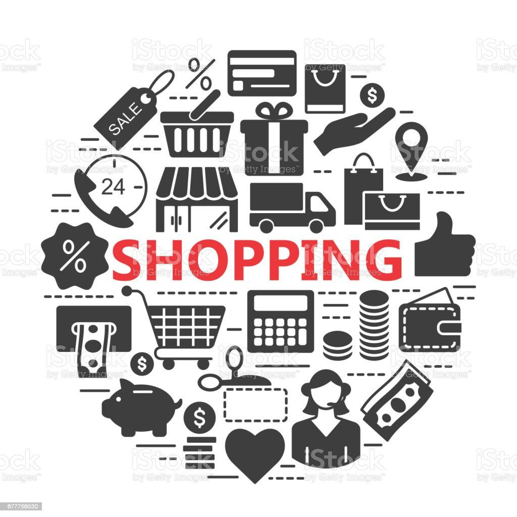 E-commerce. Silhouette web icons set vector art illustration