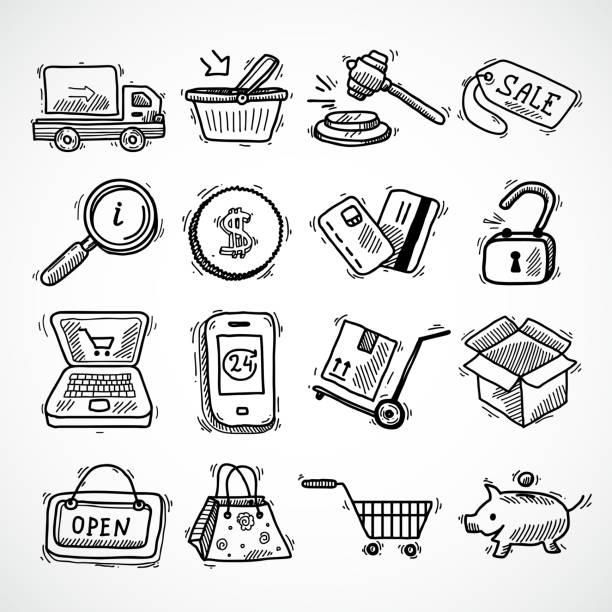 E-Commerce-Skizzensymbole – Vektorgrafik