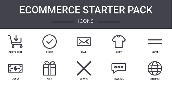 ecommerce starter pack concept line icons set. contains icons usable for web, logo, ui/ux such as check, shirt, money, wrong, message, internet, menu, mail