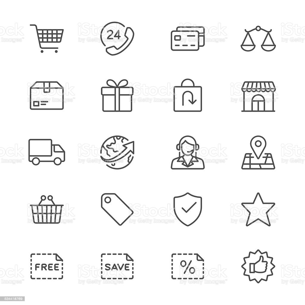 E-commerce thin icons vector art illustration
