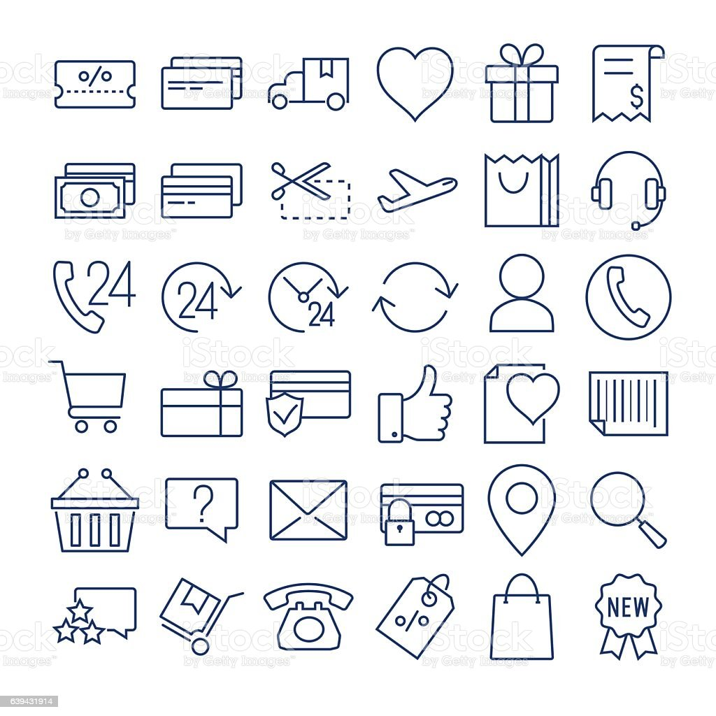 E-commerce thin line  icons set vector art illustration