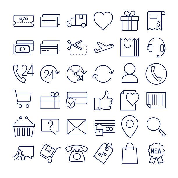 e-commerce thin line  icons set - e commerce stock illustrations, clip art, cartoons, & icons
