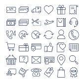 E-commerce thin line  icons set