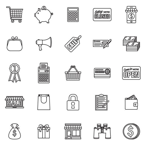 E-Commerce Thin Line Outline Icon Set A group of 25 black and white thin line icons. File is built in the CMYK color space for optimal printing, with 100% black and white swatches. Icons are grouped and easy to isolate. change purse stock illustrations