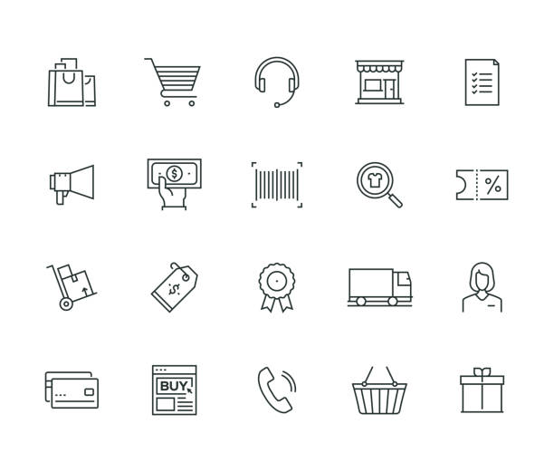 e-commerce thin line series - shopping stock illustrations, clip art, cartoons, & icons
