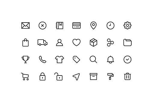 E-Commerce & User interface Ui Outline Icons