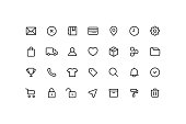 Vector illustration of commerce and user interface icons.