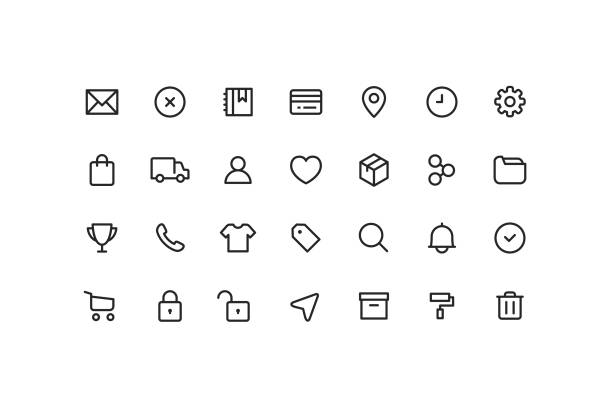 E-Commerce & User interface Ui Outline Icons Vector illustration of commerce and user interface icons. conceptual symbol stock illustrations