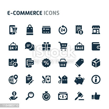 Simple bold vector icons related to website store and e-commerce. Symbols such as store object, payment method and shipping are included in this set. Editable vector, still looks perfect in small size.