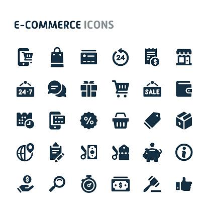 Ecommerce Vector Icon Set. Fillio Black Icon Series.