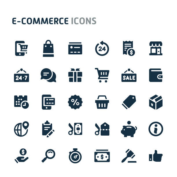Ecommerce Vector Icon Set. Fillio Black Icon Series. Simple bold vector icons related to website store and e-commerce. Symbols such as store object, payment method and shipping are included in this set. Editable vector, still looks perfect in small size. e commerce stock illustrations