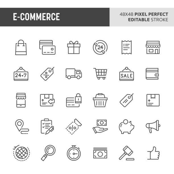 stockillustraties, clipart, cartoons en iconen met e-commerce vector icon set - elektronische handel