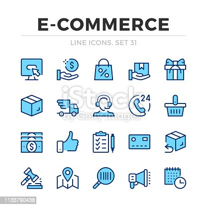 E-commerce vector line icons set. Thin line design. Outline graphic elements, simple stroke symbols. Ecommerce icons