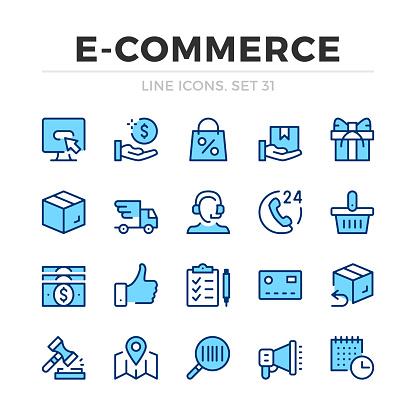E-commerce vector line icons set. Thin line design. Outline graphic elements, simple stroke symbols. Ecommerce icons