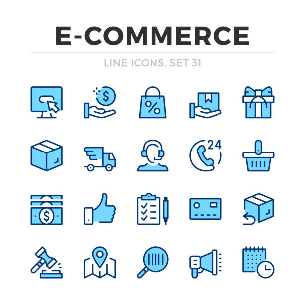 E-commerce vector line icons set. Thin line design. Outline graphic elements, simple stroke symbols. Ecommerce icons E-commerce vector line icons set. Thin line design. Outline graphic elements, simple stroke symbols. Ecommerce icons online shopping stock illustrations
