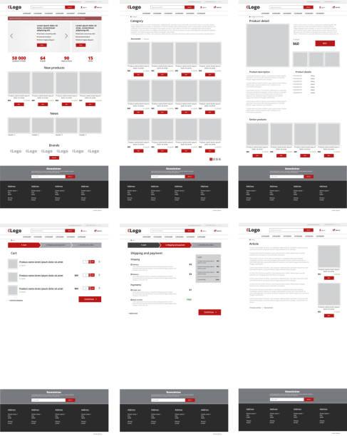 Ecommerce website template, set of six web pages. Flat design layout Ecommerce website template, set of six web pages. Flat design layout website wireframe stock illustrations