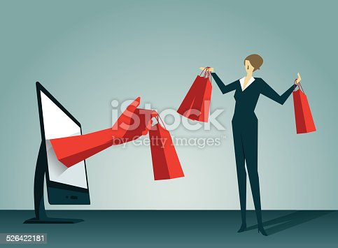 E-commerce,Shopping Bag,Businesswoman,  Shopping,Consumerism,Retail