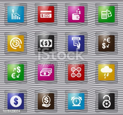 E-commers vector glass icons for user interface design