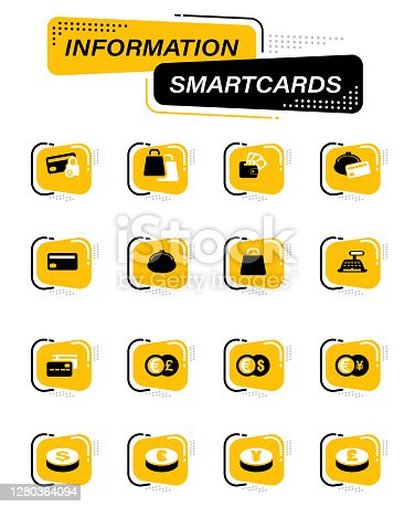 E-commers color vector icons on information smart cards for user interface design
