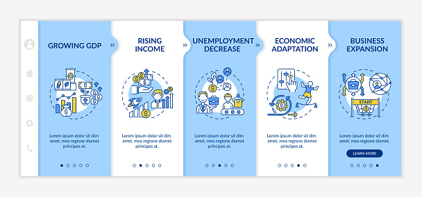 Economic adaptation and adjustment to conditions onboarding vector template