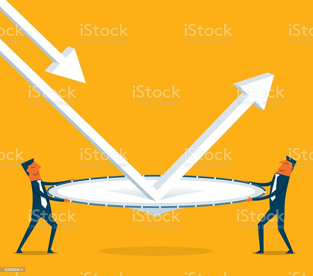 Economic bounce back vector art illustration