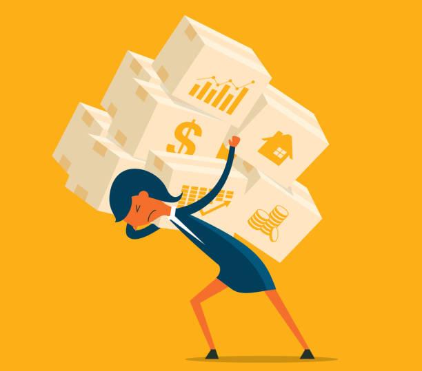 illustrazioni stock, clip art, cartoni animati e icone di tendenza di economic crisis - businesswoman - portare