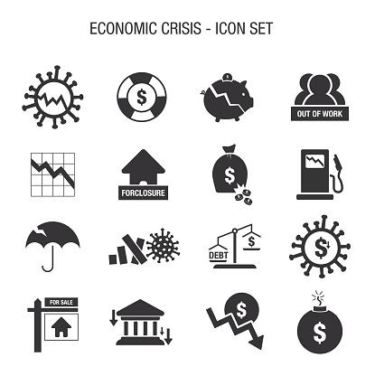 Economic Crisis Icon Set