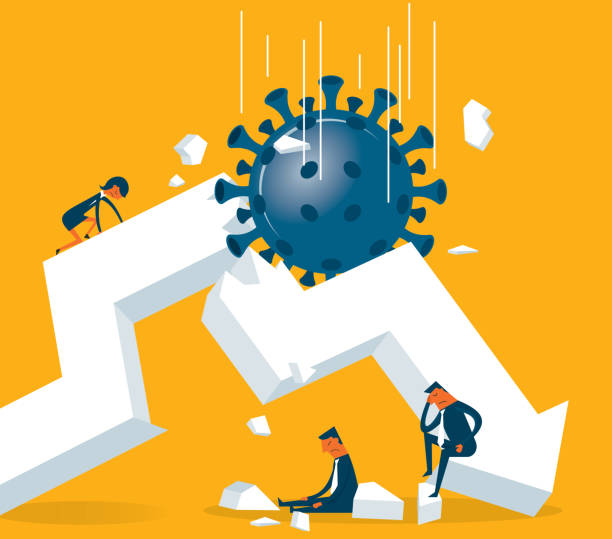 Economic Crisis - Viruses Economic Crisis with Viruses Spreading crisis stock illustrations