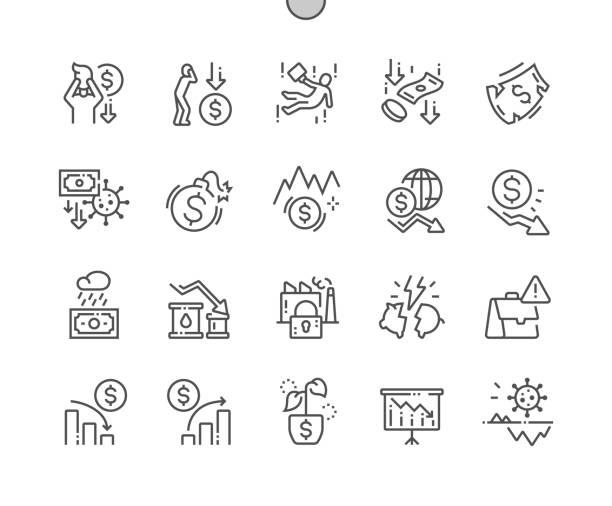 stockillustraties, clipart, cartoons en iconen met economische crisis goed gemaakte pixel perfect vector thin line icons 30 2x grid voor webgraphics en apps. eenvoudig minimaal pictogram - faillissement
