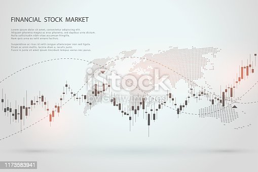 Economic graph with diagrams on the stock market, for business and financial concepts and reports. Japanese candles.Abstract vector background