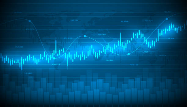 economic graph with diagrams on the stock market, for business and financial concepts and reports.abstract blue vector background. - handlować stock illustrations