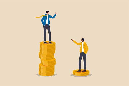 Economic inequality, rich and poor gap, unfairness income, different money people being paid concept, white rich businessman standing on high salary coins tower with poor black man on low coins stack.