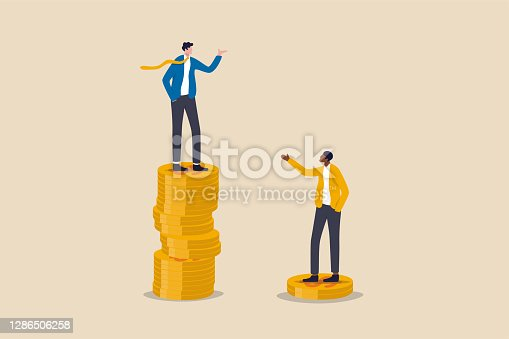 istock Economic inequality, rich and poor gap, unfairness income, different money people being paid concept, white rich businessman standing on high salary coins tower with poor black man on low coins stack. 1286506258