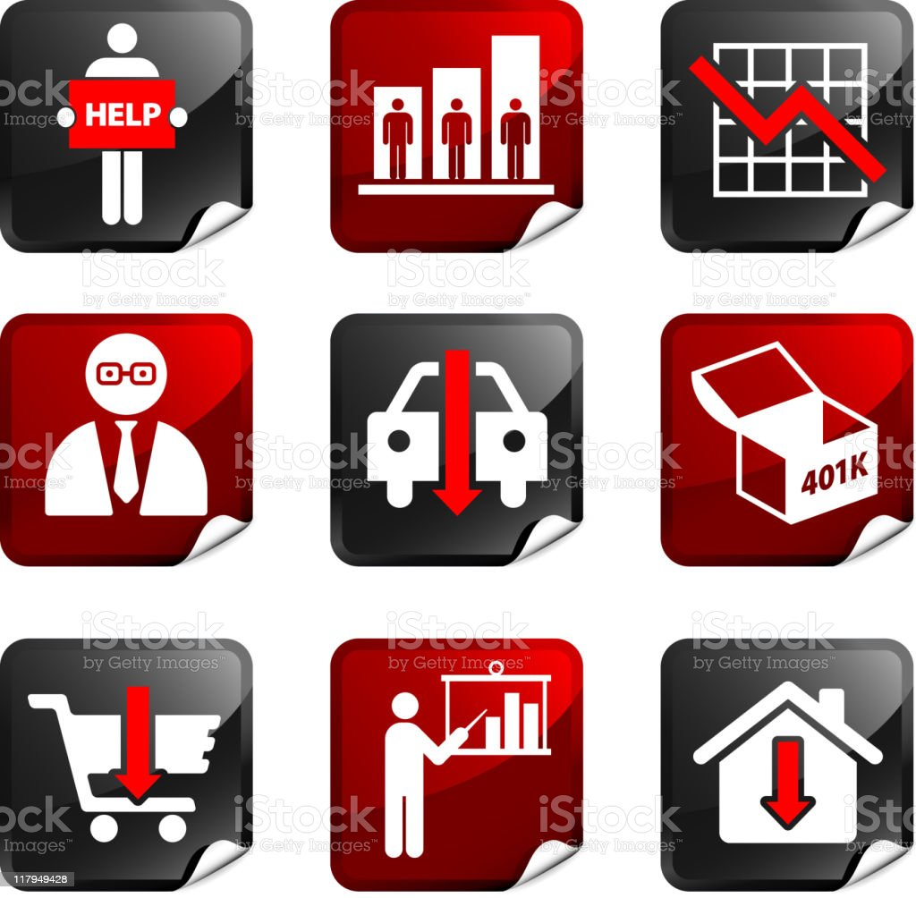 Economic Recession and Depression Internet royalty free vector icon set royalty-free economic recession and depression internet royalty free vector icon set stock vector art & more images of 401k
