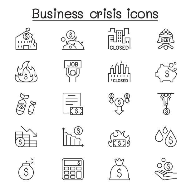 Economic recession, business crisis, trade war icon set in thin line style Economic recession, business crisis, trade war icon set in thin line style economic reform stock illustrations