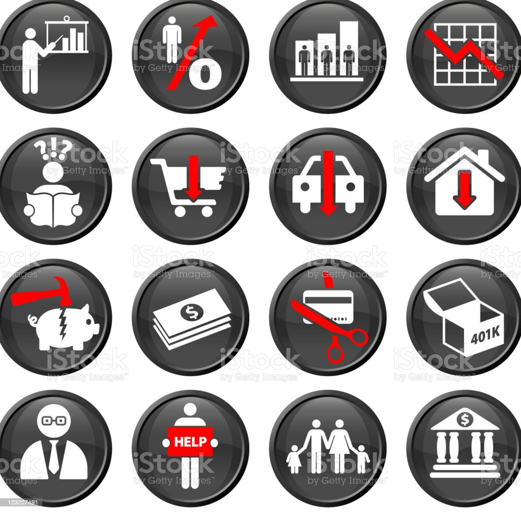 economic recession sixteen royalty free vector icon set vector art illustration