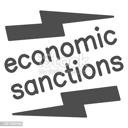 Economic sanctions text with lightning solid icon, economic sanctions concept, Economic sanction sign on white background, Signpost sanctions icon in glyph style. Vector graphics