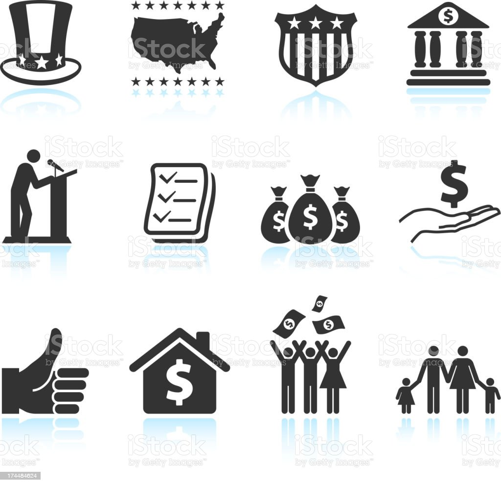 Economic stimulus bailout bill black and white vector icon set royalty-free stock vector art