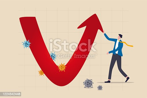 istock Economic V shape recovery after Coronavirus COVID-19 crash concept, businessman professional analyse world economic, business will recover and restore with v shape graph and chart with virus pathogen 1224542448