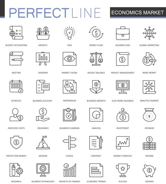 Economics market thin line web icons set. Outline stroke icons design. vector art illustration