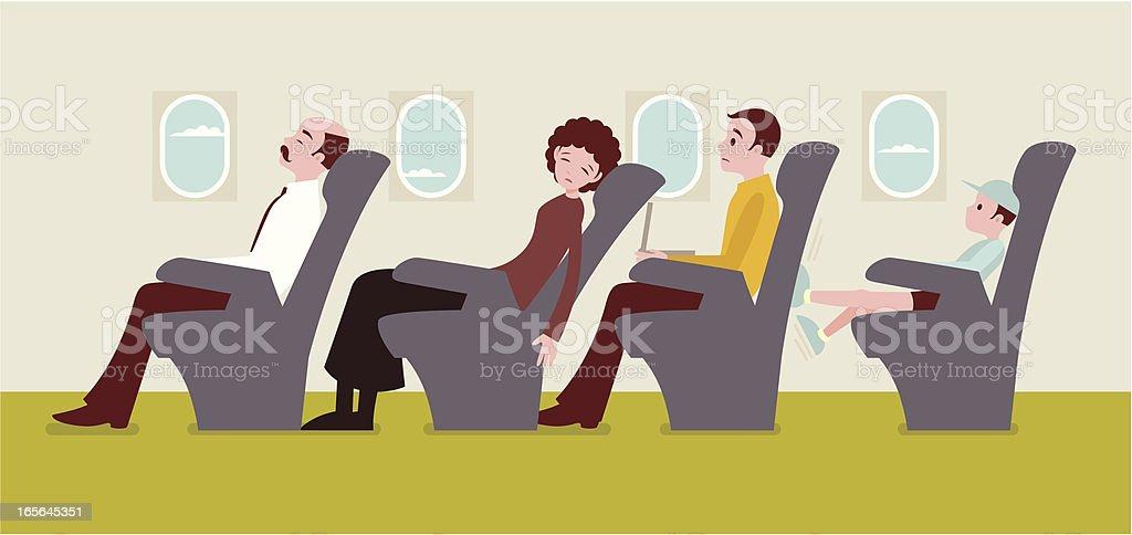Economy class passengers on an airplane vector art illustration